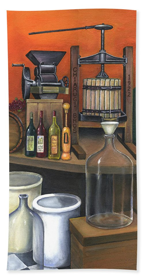 Wine Bath Sheet featuring the painting Italian Wine Press by Joseph Schilling