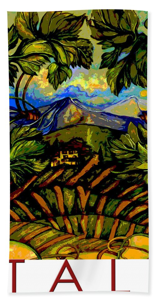 Tuscany Hand Towel featuring the painting Italy Graphics by Jean Habeck