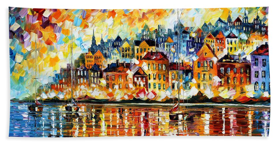 Afremov Bath Towel featuring the painting Italy Harbor by Leonid Afremov