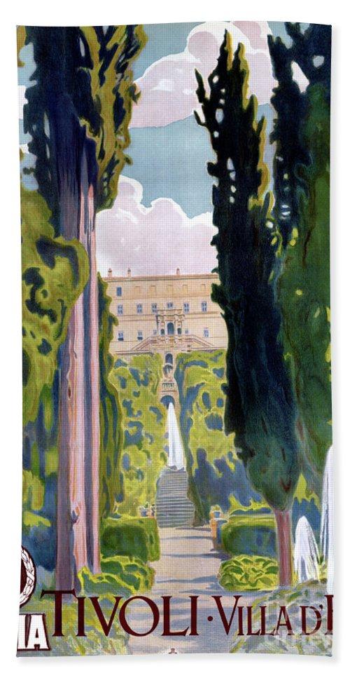 Vintage Bath Sheet featuring the mixed media Italy Tivoli Vintage Travel Poster Restored by Carsten Reisinger