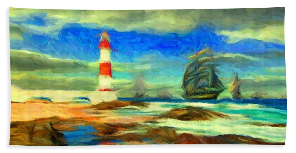 Itapua Hand Towel featuring the digital art Itapua Lighthouse 1 by Caito Junqueira