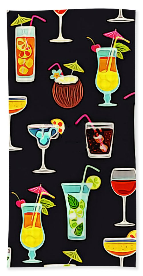 Tropics Bath Sheet featuring the painting Its 5 Oclock Somewhere Cocktails by Elaine Plesser
