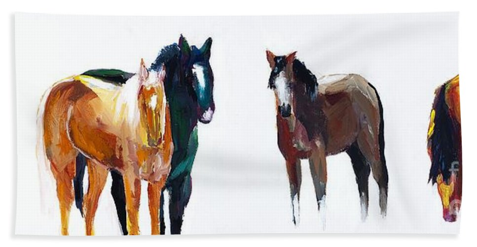 Horses Hand Towel featuring the painting It's All About The Horses by Frances Marino