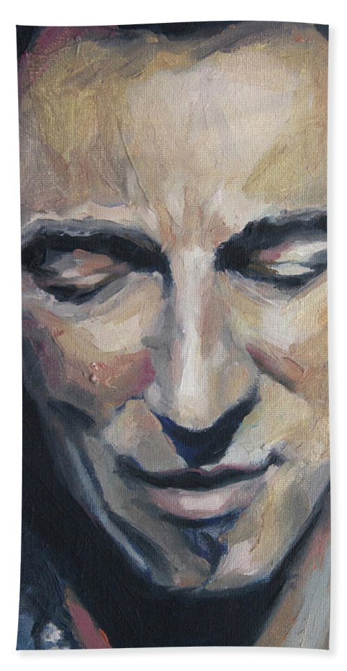 Bruce Bath Sheet featuring the painting It's Boss Time II - Bruce Springsteen Portrait by Khairzul MG
