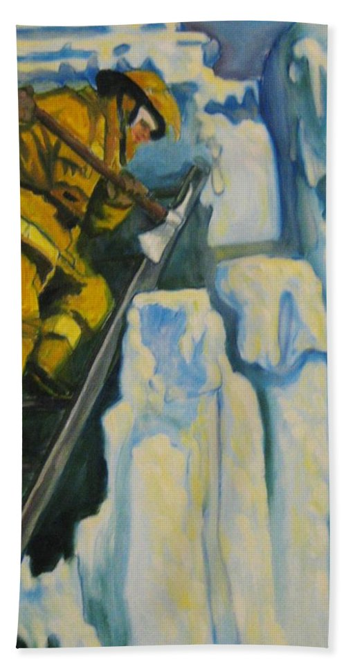 Firefighters Bath Towel featuring the painting Its Not Over Till Its Over by John Malone