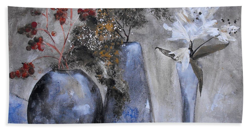 Abstract Hand Towel featuring the painting It's Nothing Personal by Ruth Palmer
