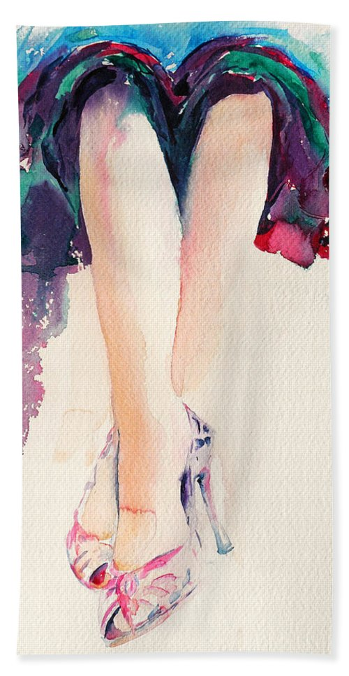 Legs Bath Towel featuring the painting It's Party Time by Stephie Butler