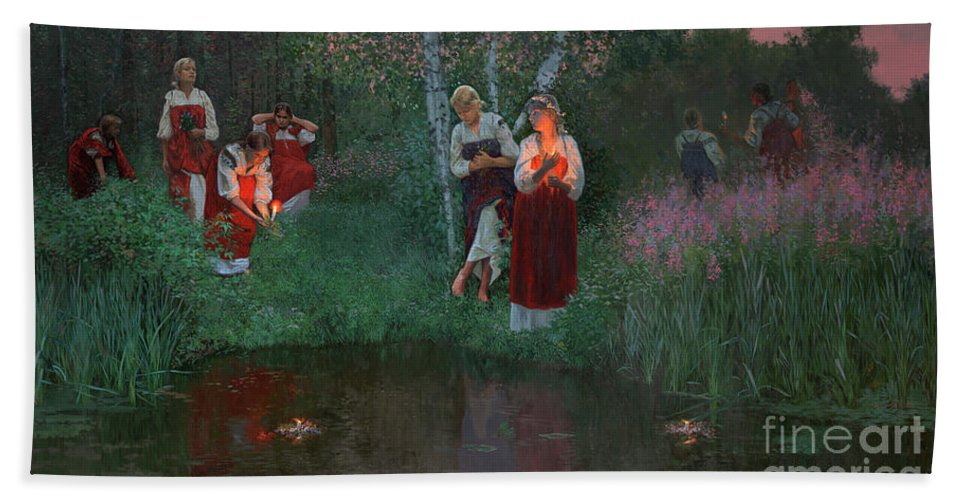 Girs Bath Sheet featuring the painting Ivan Kupala. Fortunetelling For Wreaths. by Simon Kozhin