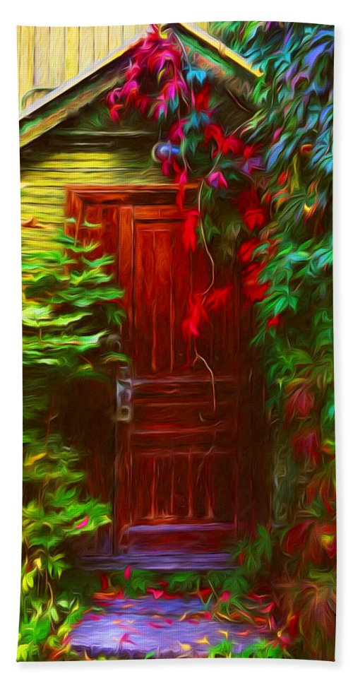 Ivy Surrounded Old Outhouse Hand Towel featuring the photograph Ivy Surrounded Old Outhouse by Georgiana Romanovna