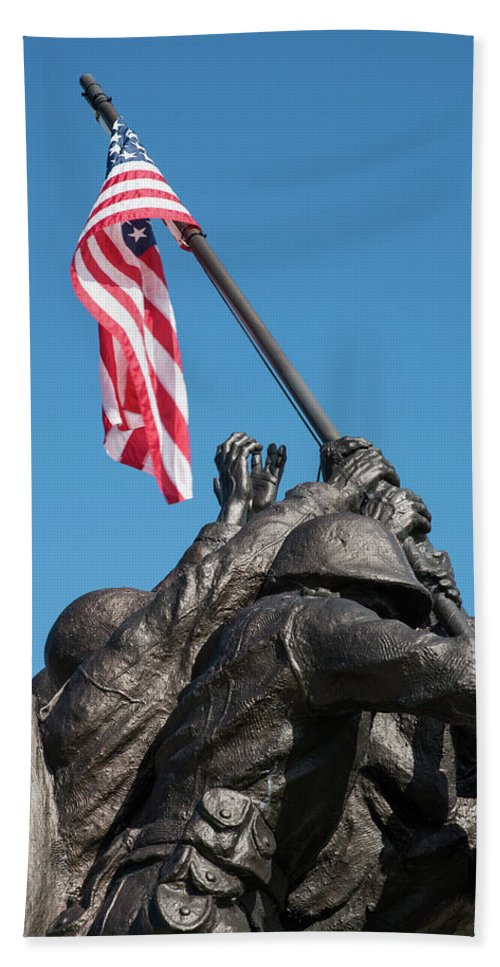Cape Coral Bath Sheet featuring the photograph Iwo Jima 1945 - War Memorial, Cape Coral, Florida by Timothy Wildey