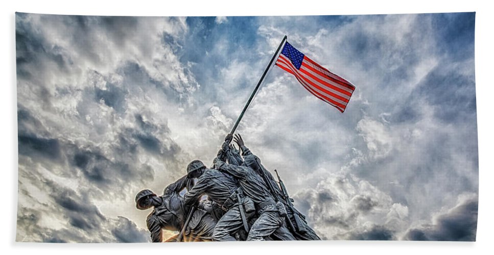 Iwo Jima Hand Towel featuring the photograph Iwo Jima Memorial by Susan Candelario