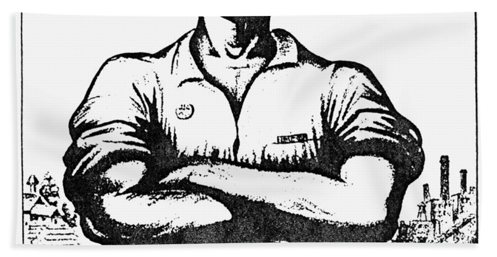 1917 Hand Towel featuring the photograph Iww Poster, 1917 by Granger