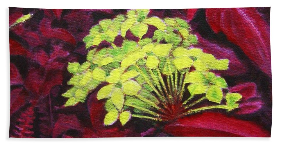 Foliage Hand Towel featuring the painting Ixora - Jungle Flame by Usha Shantharam