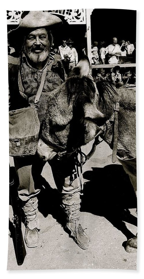 Jack Hendrickson With Pet Burro Number 1 Helldorado Days Parade Tombstone Arizona 1980 Hand Towel featuring the photograph Jack Hendrickson With Pet Burro Number 1 Helldorado Days Parade Tombstone Arizona 1980 by David Lee Guss