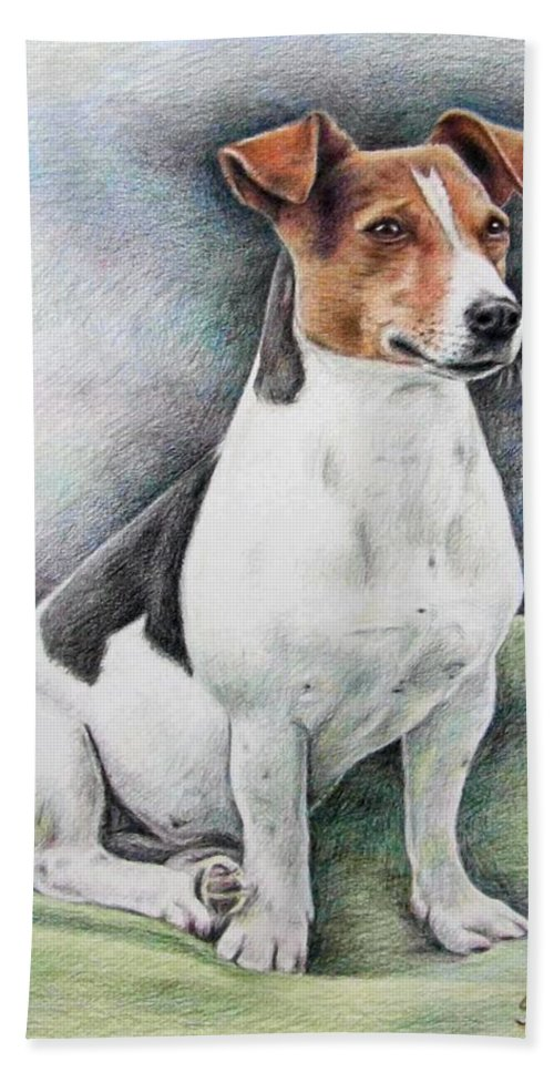 Dog Hand Towel featuring the drawing Jack Russell Terrier by Nicole Zeug