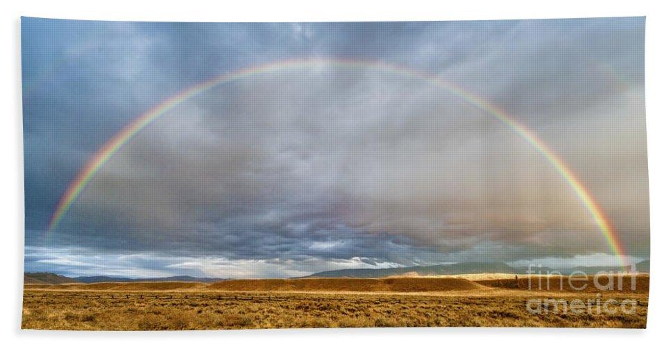 Grand Teton Hand Towel featuring the photograph Jackson Hole Rainbow by Sandra Bronstein
