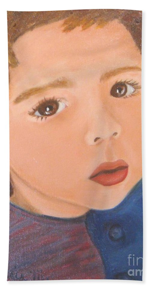 Portrait Bath Towel featuring the painting Jackson by Laurie Morgan