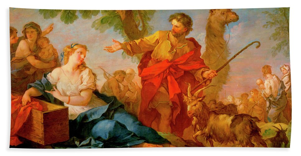 Jacob And Rachel Leaving The House Of Laban Hand Towel featuring the painting Jacob And Rachel Leaving The House Of Laban by Charles-Joseph Natoire