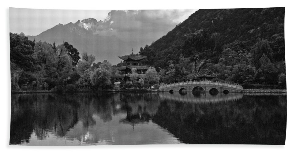 Asia Hand Towel featuring the photograph Jade Dragon Snow Mountain by Michele Burgess
