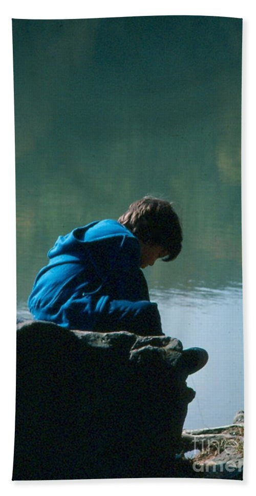 Silhouette Hand Towel featuring the photograph Jadon Pondering by Penny Neimiller