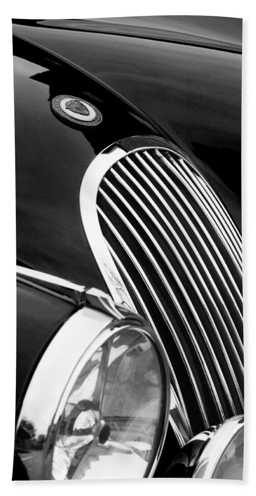 Transportation Bath Sheet featuring the photograph Jaguar Grille Black And White by Jill Reger