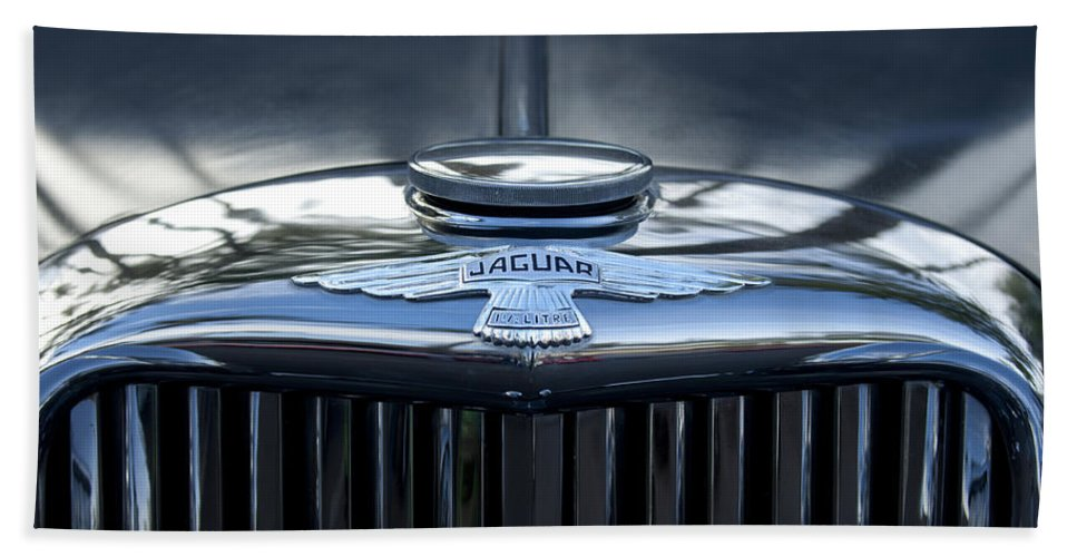 Jaguar Hand Towel featuring the photograph Jaguar Hood Ornament by Jill Reger