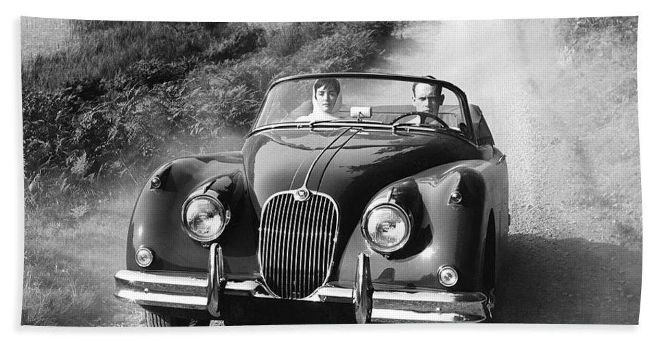 1035-160 Hand Towel featuring the photograph Jaguar Xk 150 Drophead Coupe by Underwood Archives