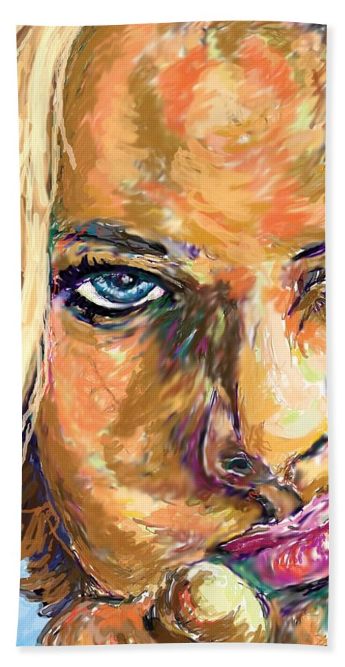 Jaime Pressly Hand Towel featuring the painting Jaime Pressly by Travis Day
