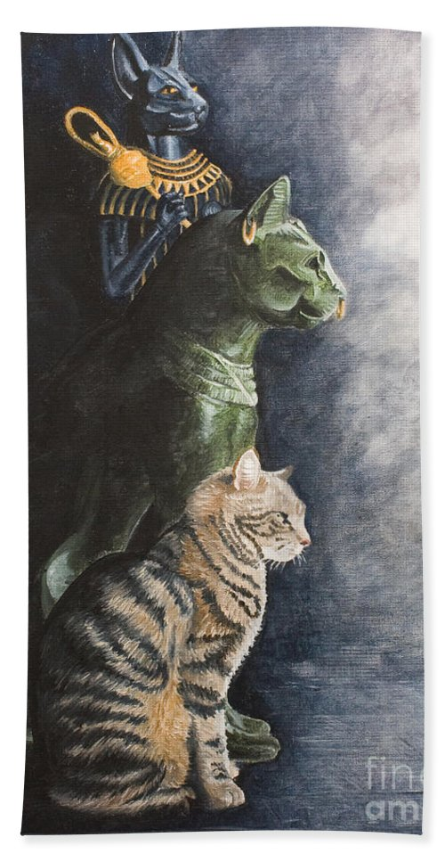 Cat Jake Bastet Egyptian Statues Gods Pet Portrait Bath Towel featuring the painting Jake And The Ancestors-pet Portrait by Pauline Sharp