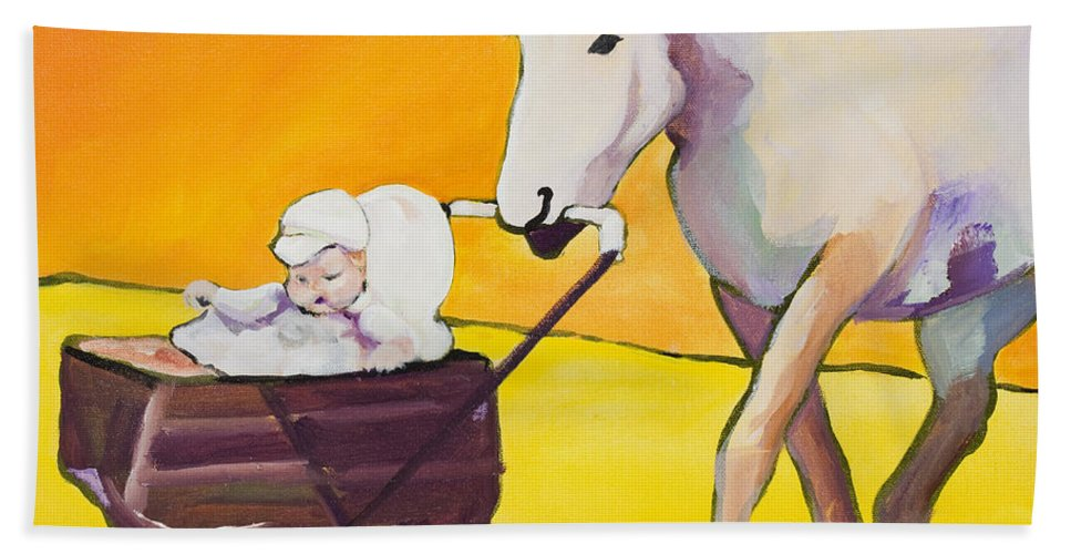Animal Bath Towel featuring the painting Jake by Pat Saunders-White