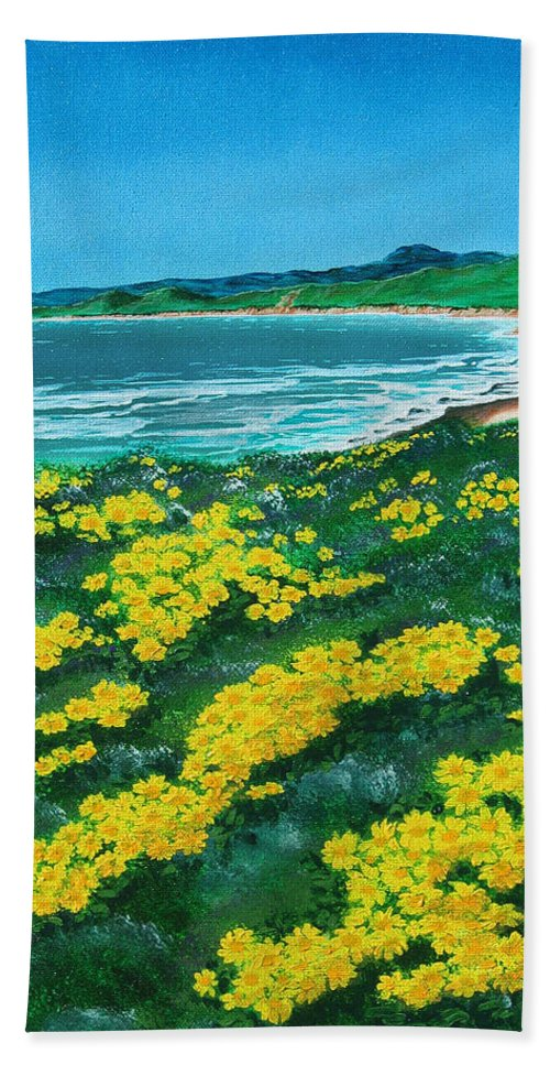 Jalama Bath Sheet featuring the painting Jalama Beach by Angie Hamlin