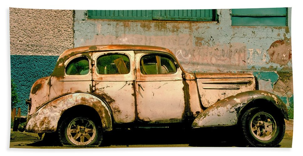 Skip Bath Sheet featuring the photograph Jalopy by Skip Hunt