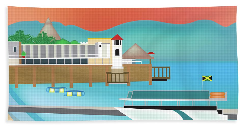 Jamaica Caribbean Art Hand Towel featuring the digital art Jamaica Horizontal Scene by Karen Young