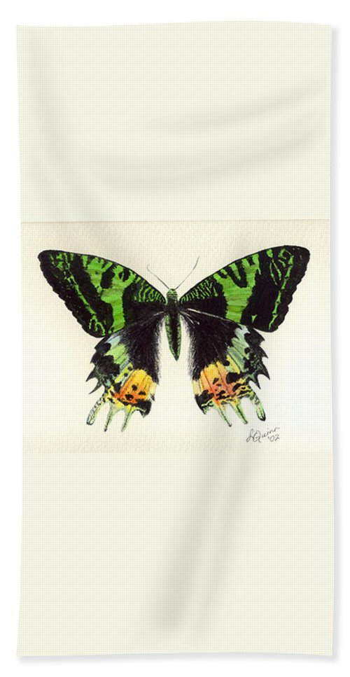 Butterfly Hand Towel featuring the painting Jamaican Jewel by Lynn Quinn