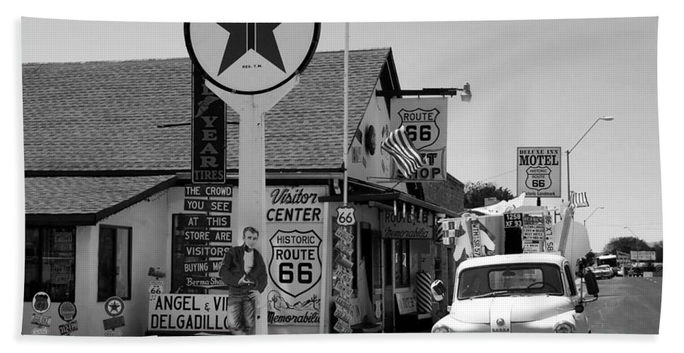 James Dean Bath Towel featuring the photograph James Dean On Route 66 by David Lee Thompson