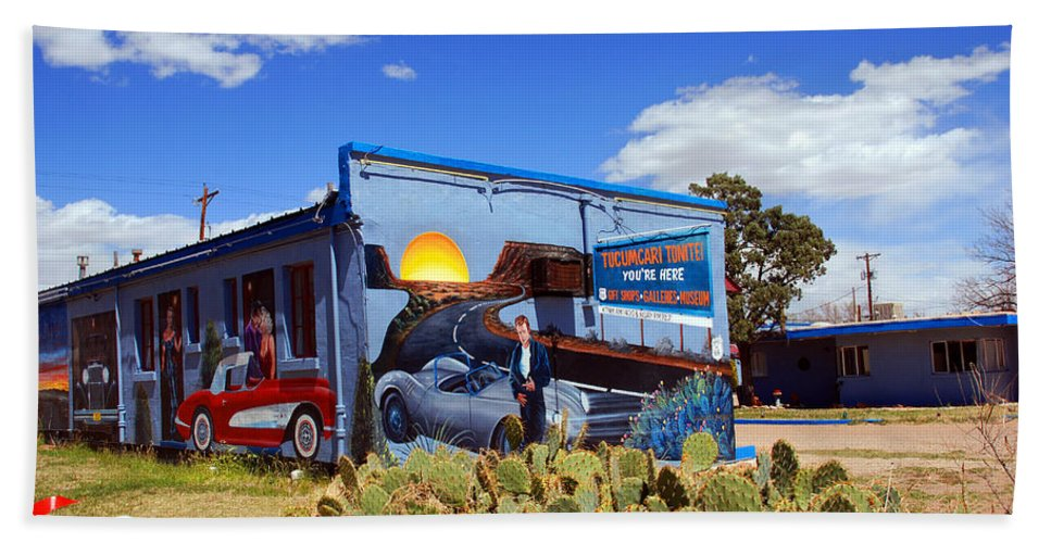 Route 66 Bath Sheet featuring the photograph James Dean Was Here Too by Susanne Van Hulst
