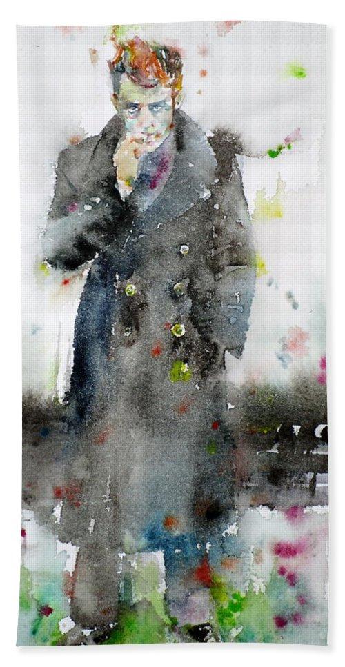 James Dean Hand Towel featuring the painting James Dean - Watercolor Portrait.3 by Fabrizio Cassetta