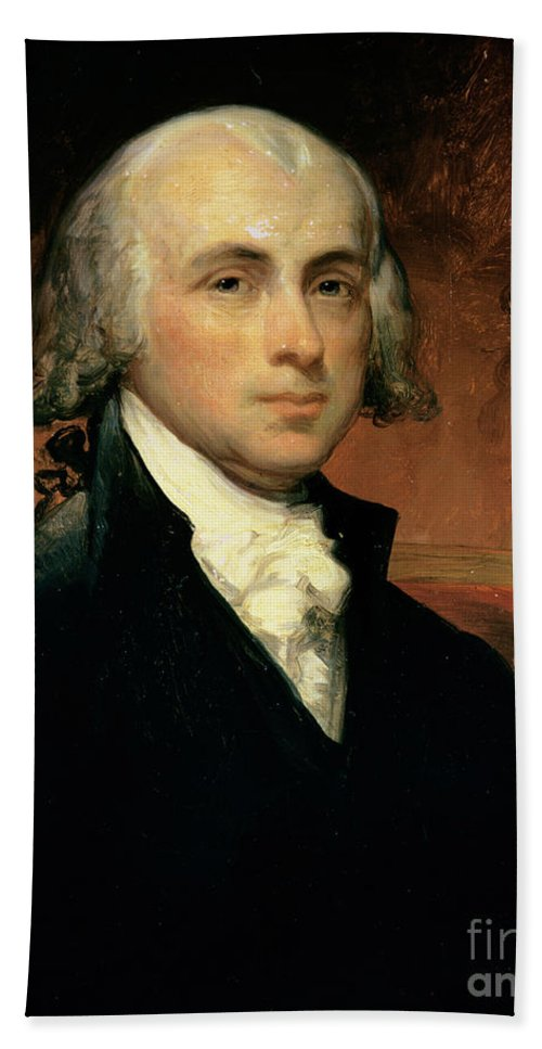 James Madison (oil On Canvas) By American School (19th Century) Hand Towel featuring the painting James Madison by American School