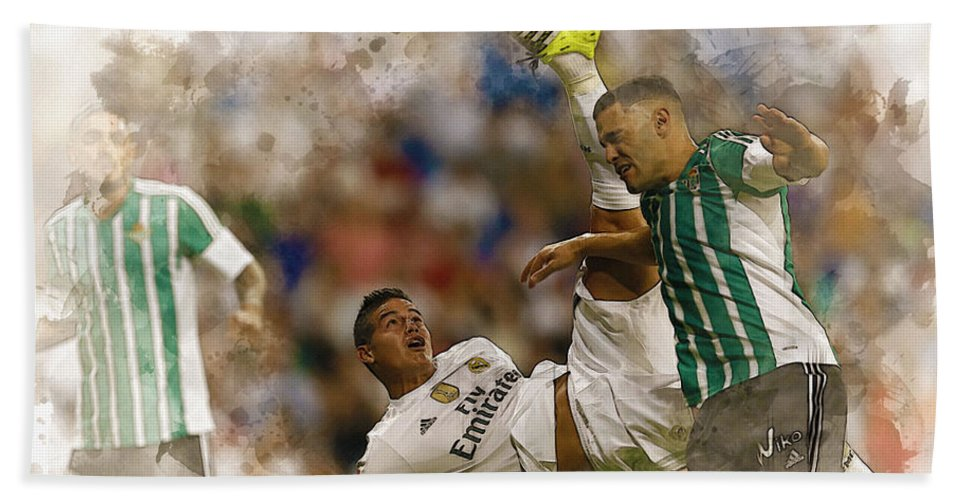 Uefa Chamipons League Bath Sheet featuring the digital art James Rodriguez Performs An Overhead Kick by Don Kuing