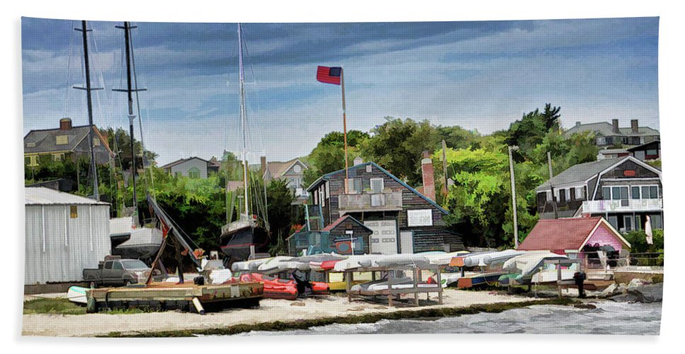 Boat Hand Towel featuring the photograph Jamestown Boat Yard by Melissa Hicks
