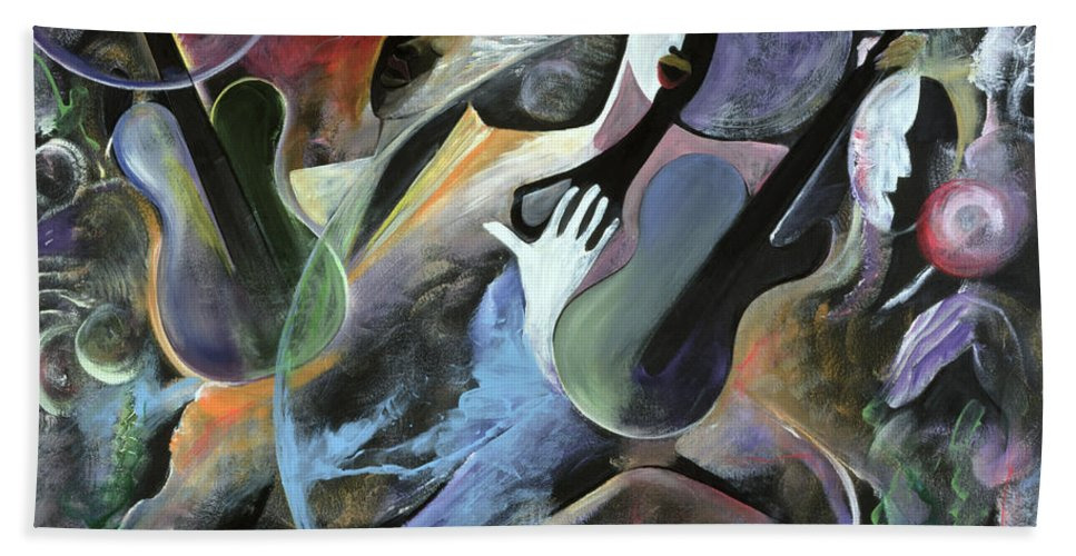 Jazz Bath Sheet featuring the painting Jammin by Ikahl Beckford