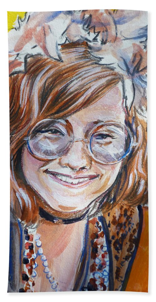 Janis Joplin Hand Towel featuring the painting Janis Joplin by Bryan Bustard