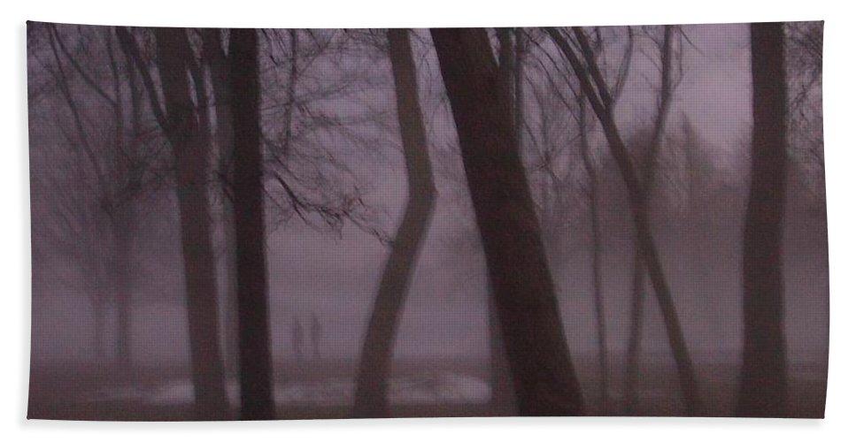 January Bath Towel featuring the photograph January Fog 1 by Anita Burgermeister
