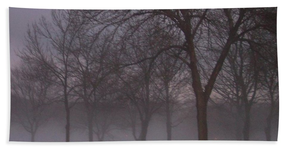 January Bath Towel featuring the photograph January Fog 4 by Anita Burgermeister