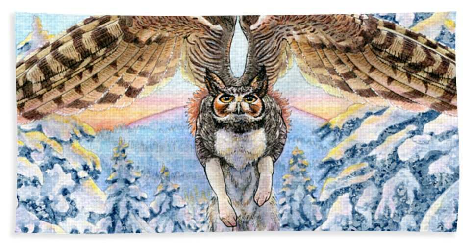 Gryphon Bath Sheet featuring the mixed media January Gryphon by Denise Hutchins