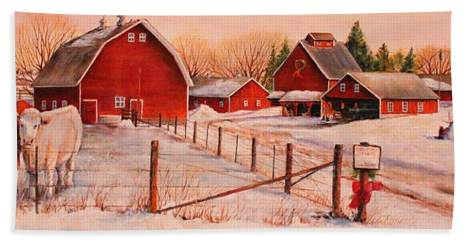 Cows Hand Towel featuring the painting January Thaw by Toni Grote