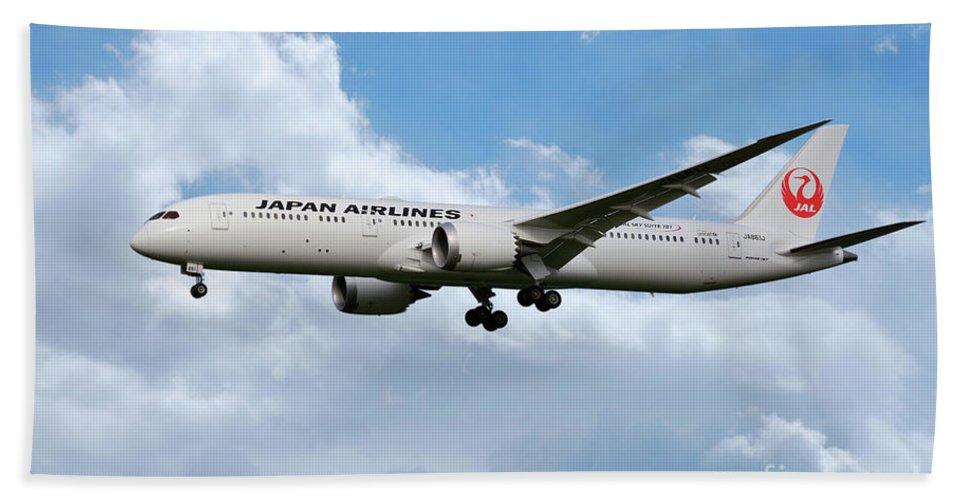 Boeing Bath Sheet featuring the digital art Japan Airlines Boeing 787 Dreamliner by J Biggadike