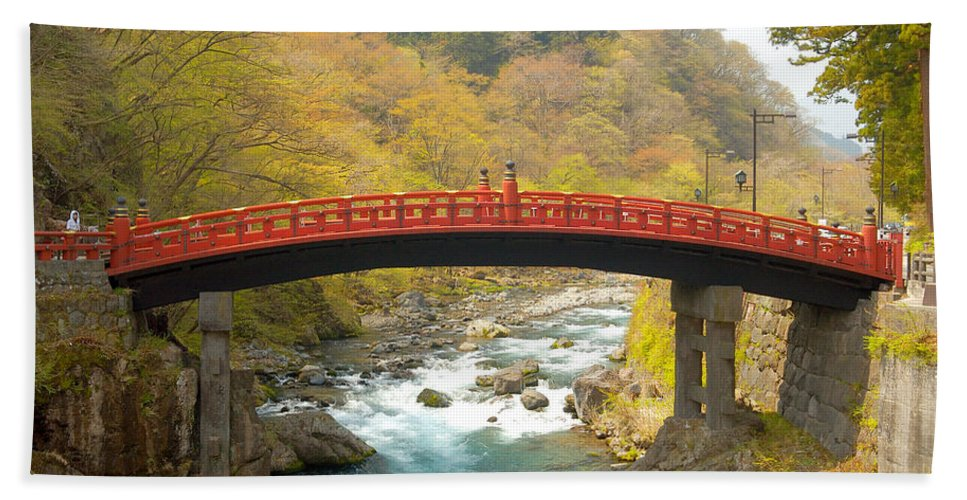 Japan Hand Towel featuring the photograph Japanese Bridge by Sebastian Musial
