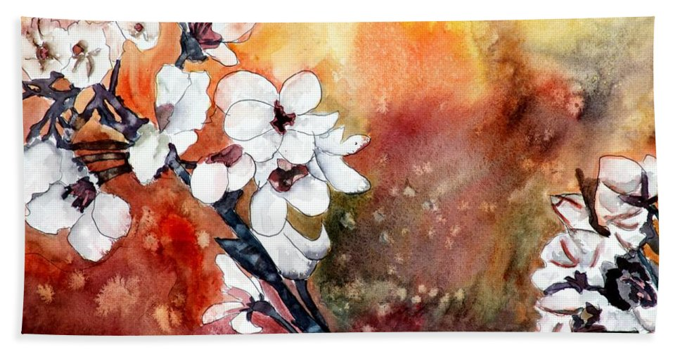 Watercolor Hand Towel featuring the painting Japanese cherry blossom abstract flowers by Derek Mccrea