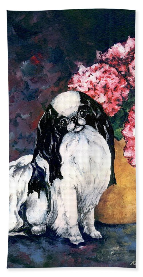 Japanese Chin Bath Towel featuring the painting Japanese Chin And Hydrangeas by Kathleen Sepulveda